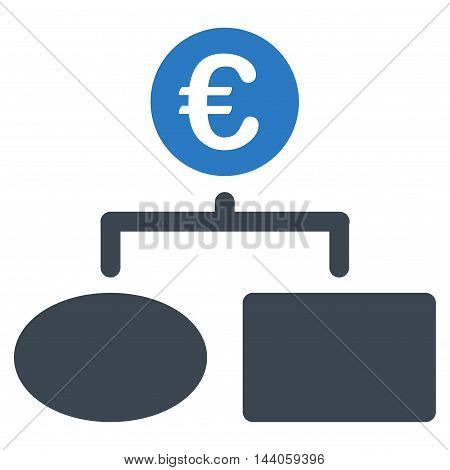 Euro Flow Chart icon. Vector style is bicolor flat iconic symbol with rounded angles, smooth blue colors, white background.