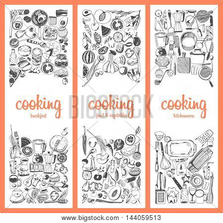 Hand drawn banner collection. Breakfast, Fruit &vegetables, Kitchenware. Vector illustration