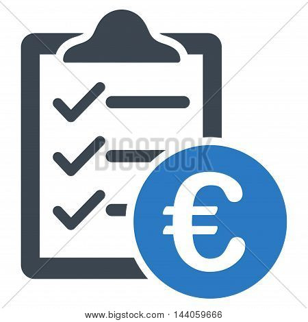 Euro Purchase Pad icon. Vector style is bicolor flat iconic symbol with rounded angles, smooth blue colors, white background.