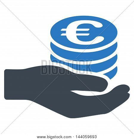 Euro Salary icon. Vector style is bicolor flat iconic symbol with rounded angles, smooth blue colors, white background.