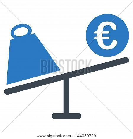Euro Trade Swing icon. Vector style is bicolor flat iconic symbol with rounded angles, smooth blue colors, white background.