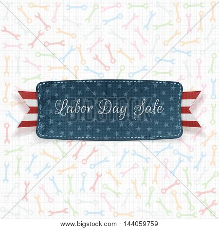 Labor Day Sale Label with Text and Ribbon