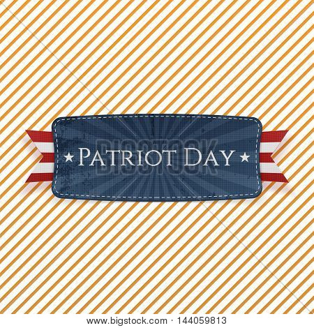 Patriot Day Emblem and Ribbon on striped Background