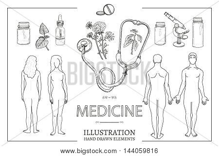 Medical set man and woman male and female anatomy medical equipment hand drawn vector illustration