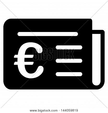 Euro Banking News icon. Vector style is flat iconic symbol with rounded angles, black color, white background.