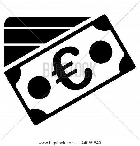 Euro Banknote and Credit Card icon. Vector style is flat iconic symbol with rounded angles, black color, white background.