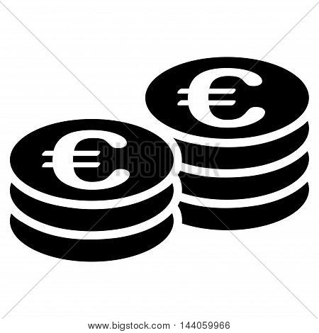 Euro Coin Stacks icon. Vector style is flat iconic symbol with rounded angles, black color, white background.