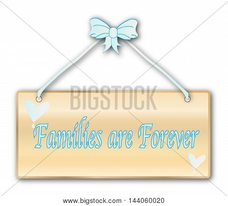 Families Are Forever plaque in woodgrain with light blue ribbon and bow over a white background with love cartoon hearts