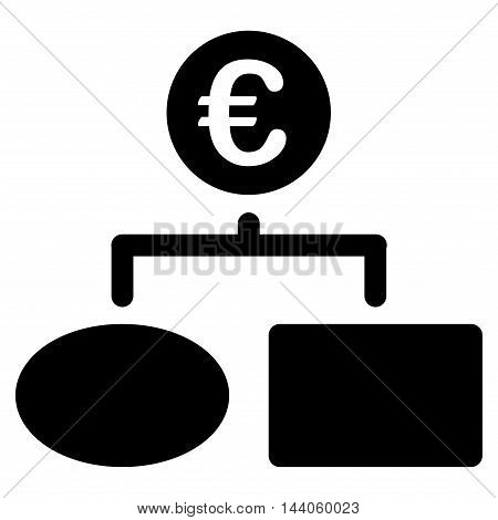 Euro Flow Chart icon. Vector style is flat iconic symbol with rounded angles, black color, white background.