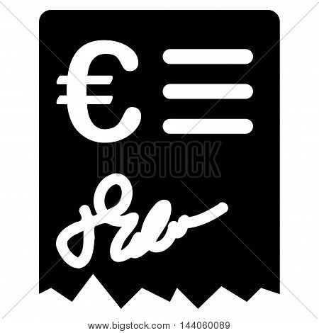 Euro Invoice icon. Vector style is flat iconic symbol with rounded angles, black color, white background.