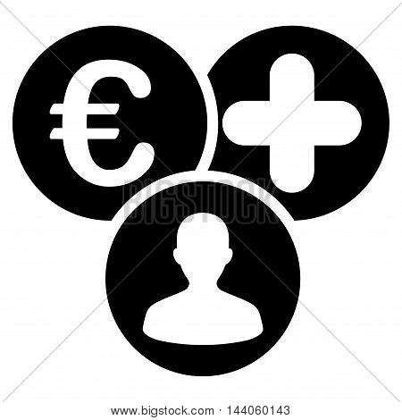 Euro Medical Expences icon. Vector style is flat iconic symbol with rounded angles, black color, white background.