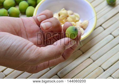 lotus seed on the human finger picking