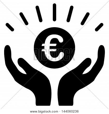 Euro Prosperity icon. Vector style is flat iconic symbol with rounded angles, black color, white background.