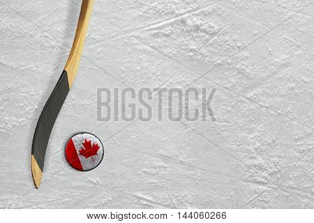 Hockey stick and puck on the ice Canadian. Concept background
