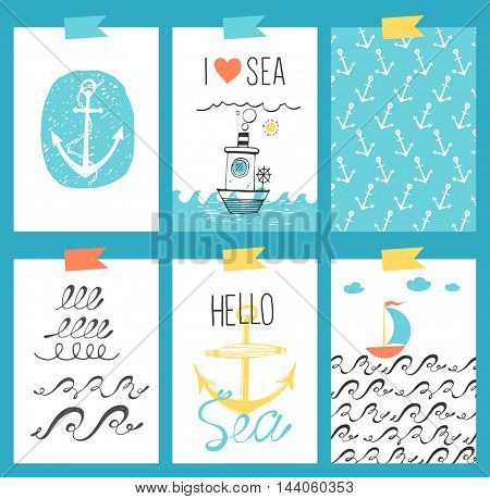Vector set of bright sea cards. Journal cards.
