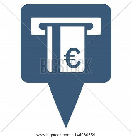 Euro Atm Pointer icon. Vector style is flat iconic symbol with rounded angles, blue color, white background.