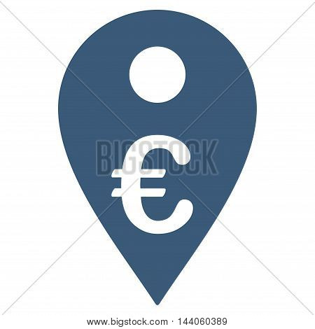 Euro Map Marker icon. Vector style is flat iconic symbol with rounded angles, blue color, white background.