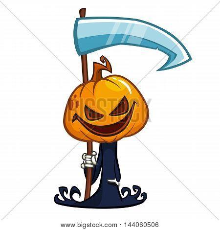 Cartoon cute pumpkin head icon. Vector pumpkin reaper with scythe isolated on white