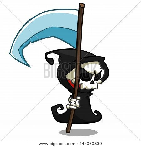 Vector cartoon illustration of spooky Halloween death with scythe skeleton character mascot isolated on white background