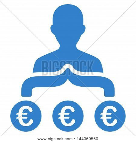 Euro Capitalist icon. Vector style is flat iconic symbol with rounded angles, cobalt color, white background.