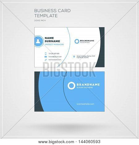 Business Card Vector Template. Personal Visiting Card With Company Logo. Clean Flat Design. Vector I