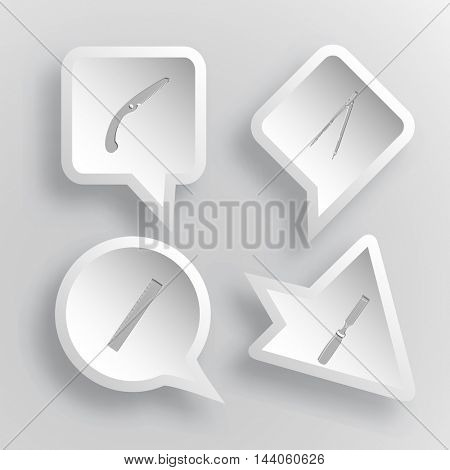4 images: hand saw, caliper, ruler, chisel. Angularly set. Paper stickers. Vector illustration icons.