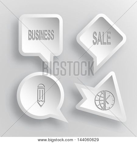 4 images: business, sale, pencil, globe and clock. Business set. Paper stickers. Vector illustration icons.