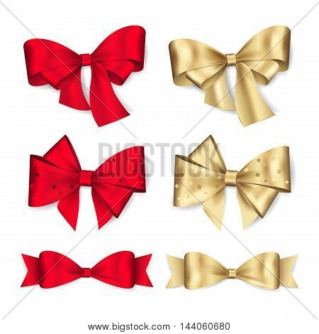 Set of red and gold bows. Vector elements for decorating greeting or gift card and invitation for holidays. Isolated from the white background.