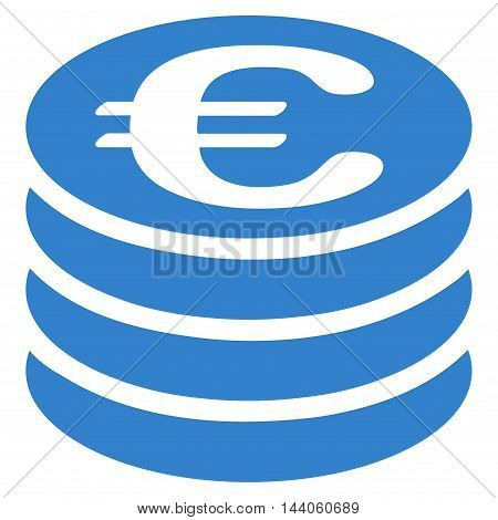 Euro Coin Stack icon. Vector style is flat iconic symbol with rounded angles, cobalt color, white background.