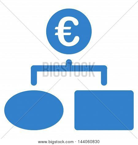 Euro Flow Chart icon. Vector style is flat iconic symbol with rounded angles, cobalt color, white background.