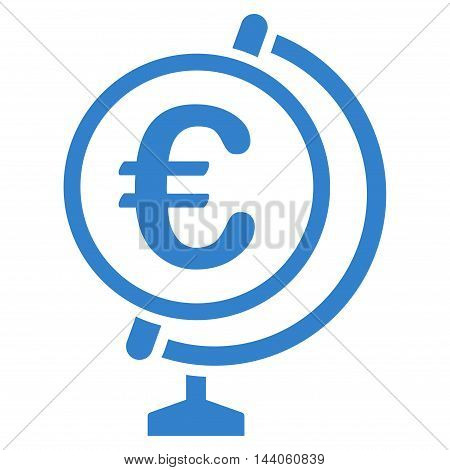 Euro Globe icon. Vector style is flat iconic symbol with rounded angles, cobalt color, white background.