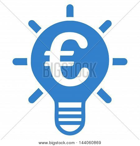 Euro Innovation icon. Vector style is flat iconic symbol with rounded angles, cobalt color, white background.