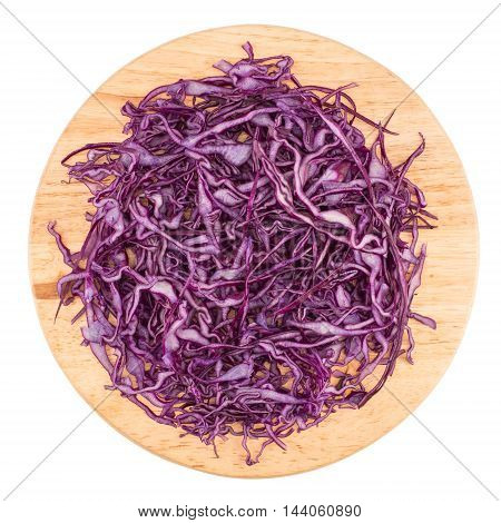Close Up of Chopped Red Cabbage on Wooden Cutting Board on white background
