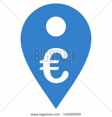 Euro Map Marker icon. Vector style is flat iconic symbol with rounded angles, cobalt color, white background.