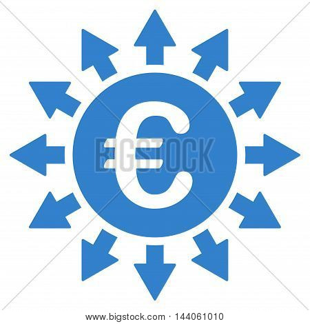 Euro Payments icon. Vector style is flat iconic symbol with rounded angles, cobalt color, white background.