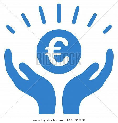 Euro Prosperity icon. Vector style is flat iconic symbol with rounded angles, cobalt color, white background.