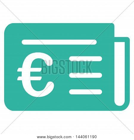 Euro Banking News icon. Vector style is flat iconic symbol with rounded angles, cyan color, white background.