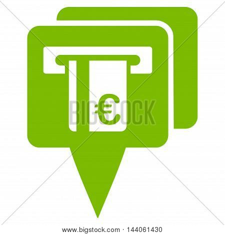 Euro Atm Pointers icon. Vector style is flat iconic symbol with rounded angles, eco green color, white background.