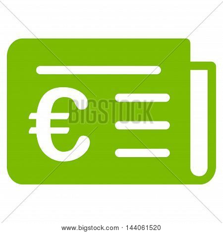 Euro Banking News icon. Vector style is flat iconic symbol with rounded angles, eco green color, white background.