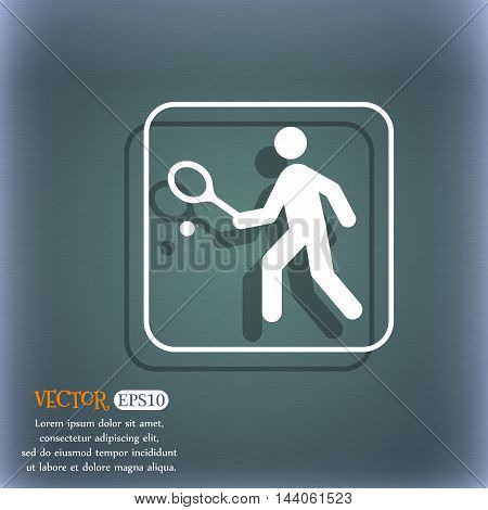 Tennis Player Icon. On The Blue-green Abstract Background With Shadow And Space For Your Text. Vecto
