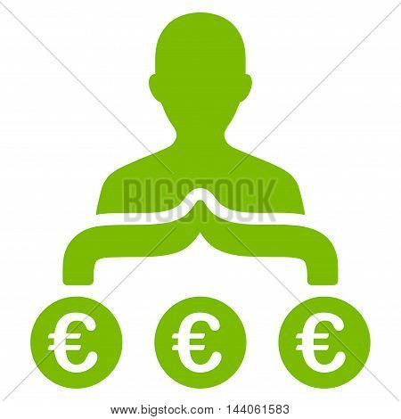 Euro Capitalist icon. Vector style is flat iconic symbol with rounded angles, eco green color, white background.