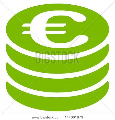 Euro Coin Stack icon. Vector style is flat iconic symbol with rounded angles, eco green color, white background.