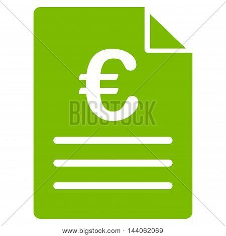 Euro Document icon. Vector style is flat iconic symbol with rounded angles, eco green color, white background.