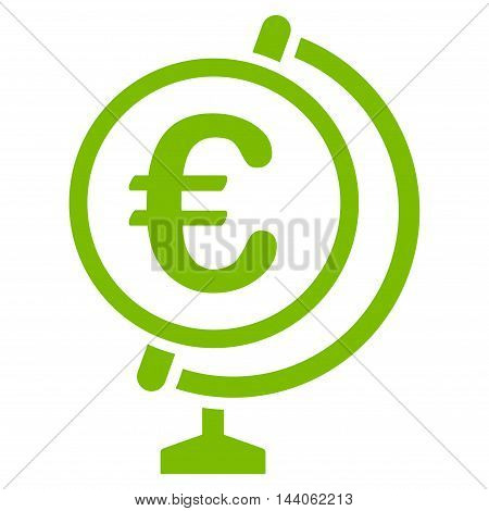 Euro Globe icon. Vector style is flat iconic symbol with rounded angles, eco green color, white background.