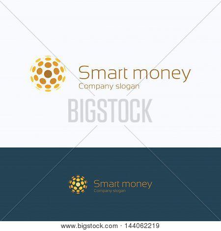 Sphere letter alphabet coin smart logo sphere coin growth trade finance money smart logotype