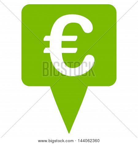 Euro Map Pointer icon. Vector style is flat iconic symbol with rounded angles, eco green color, white background.