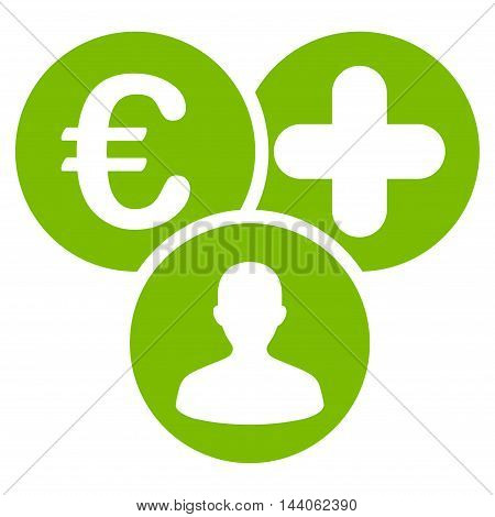 Euro Medical Expences icon. Vector style is flat iconic symbol with rounded angles, eco green color, white background.