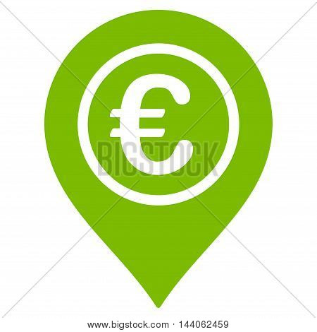 Euro Pointer icon. Vector style is flat iconic symbol with rounded angles, eco green color, white background.