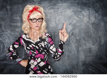 Serious Retro Teacher In Glasses