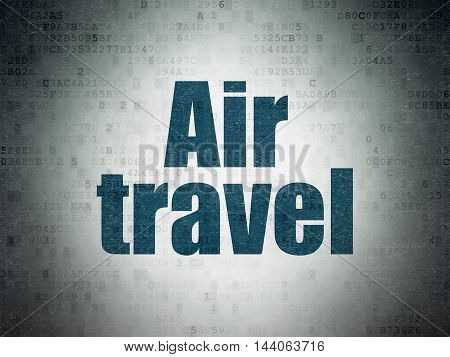 Travel concept: Painted blue word Air Travel on Digital Data Paper background